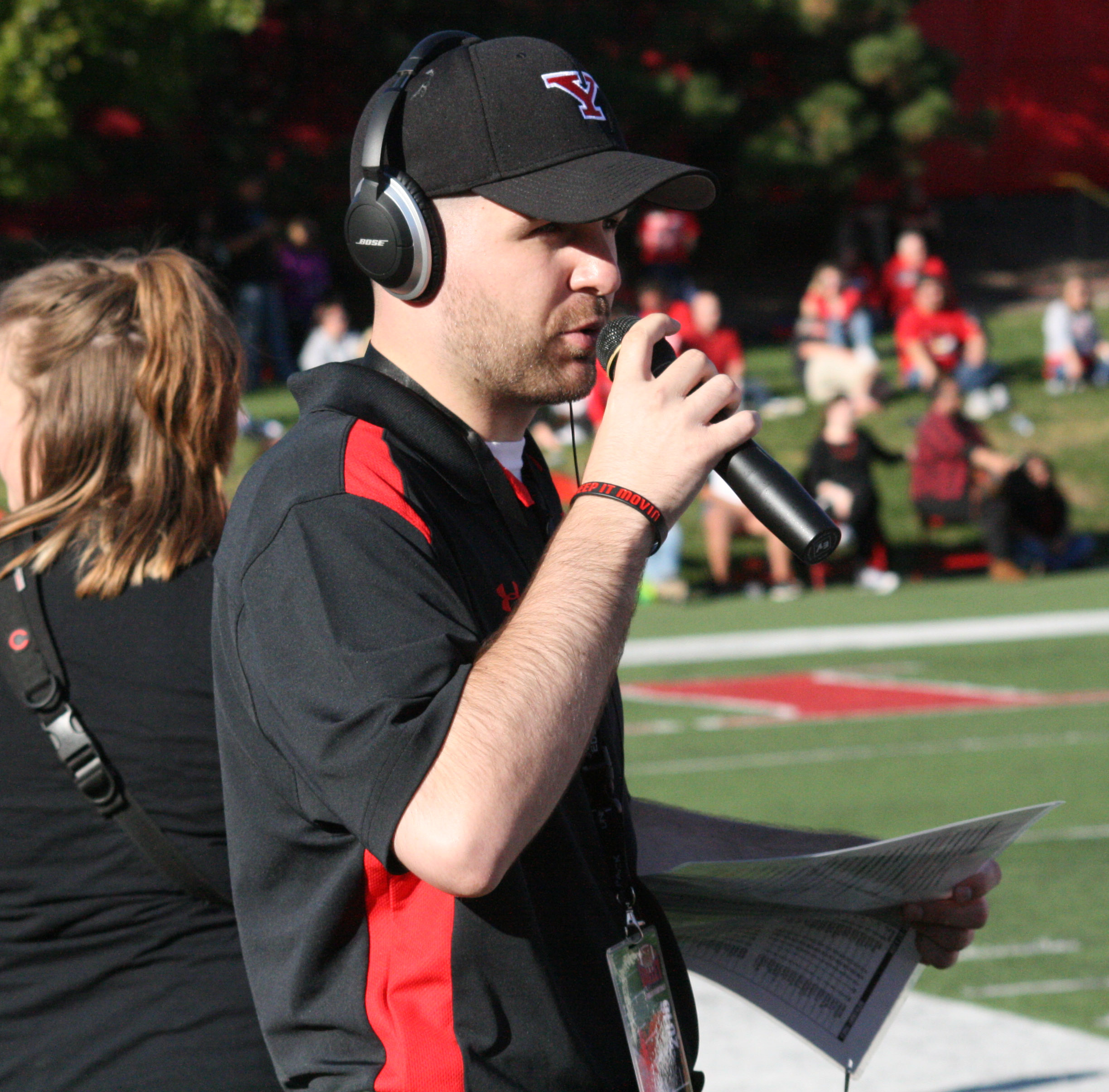 Reporting from the sidelines during a YSU Football radio broadcast on at Illinois State on October 8, 2016.