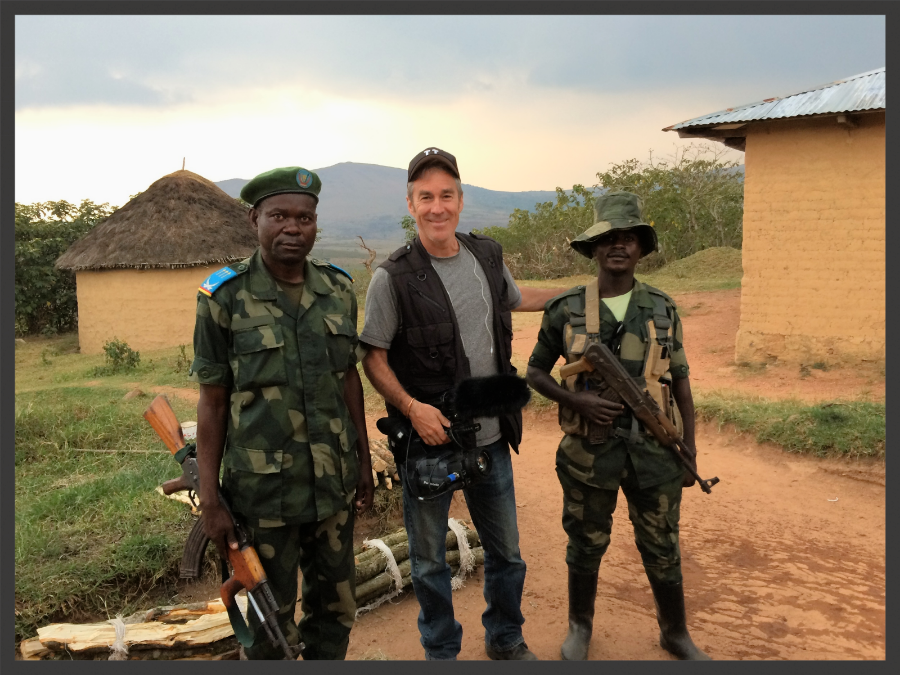 Paul Freedman with security forces in Goma.