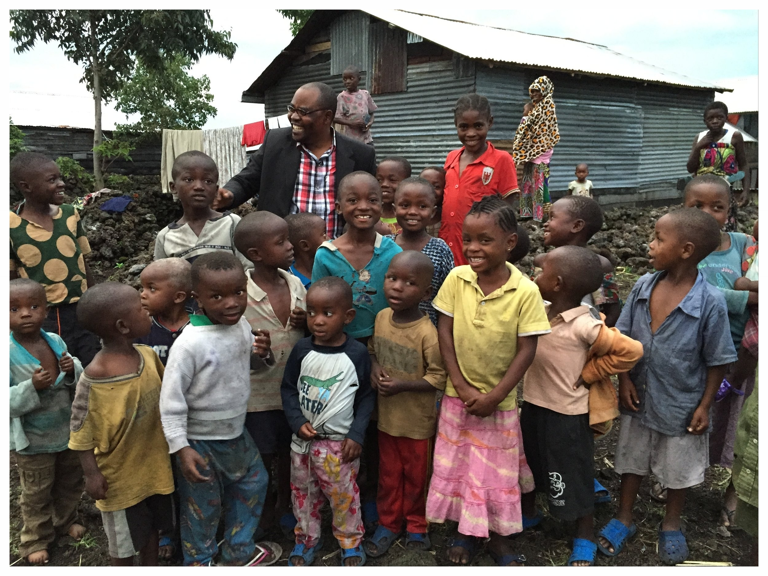 Fidel Bafilemba, our founder, in Goma with some of the children who will eventually benefit from the LCL programs. Read more about Fidel  HERE .