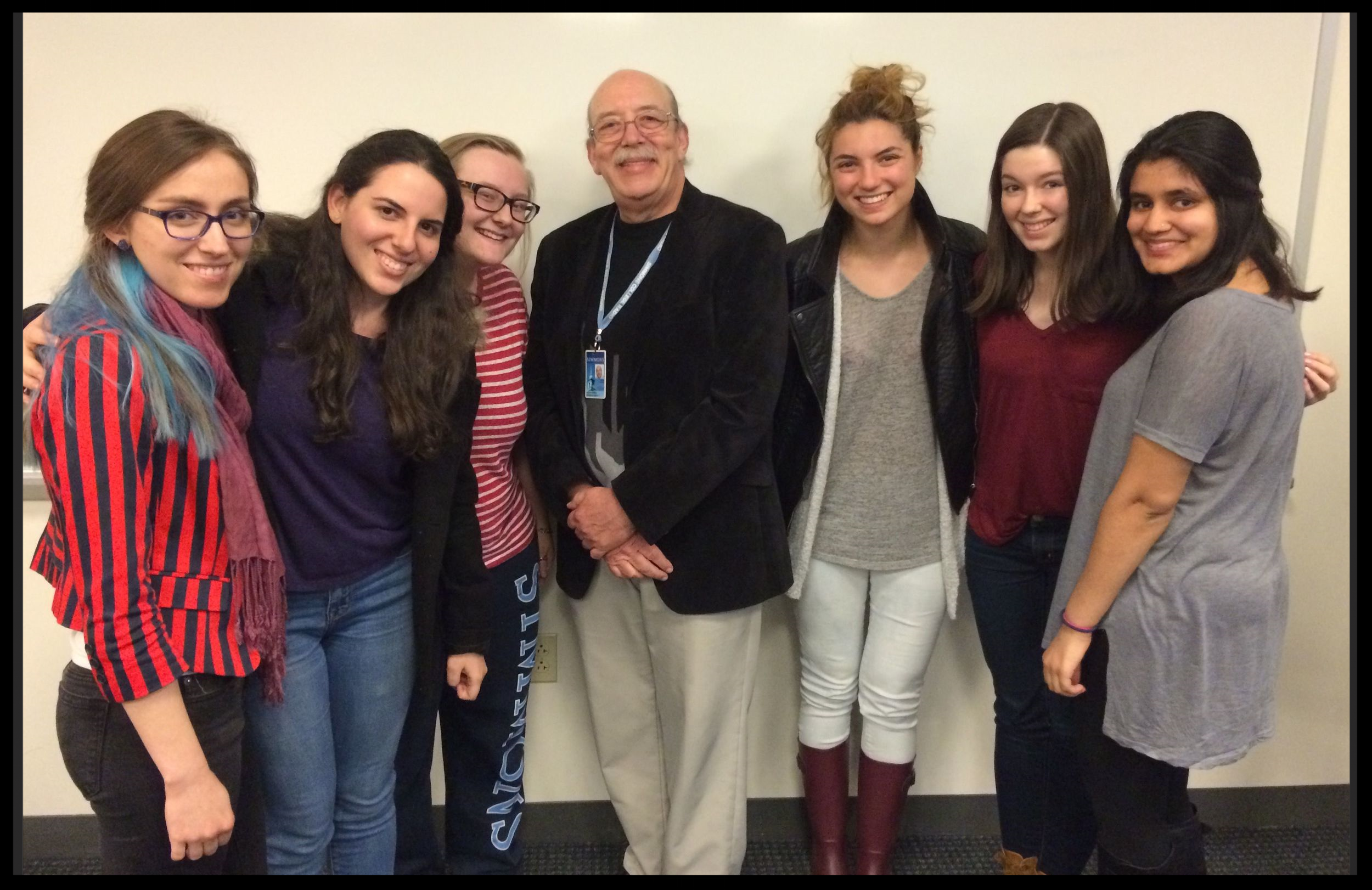 Professor Len Mailloux and some of the amazing Simmons University students in his Globalization class.