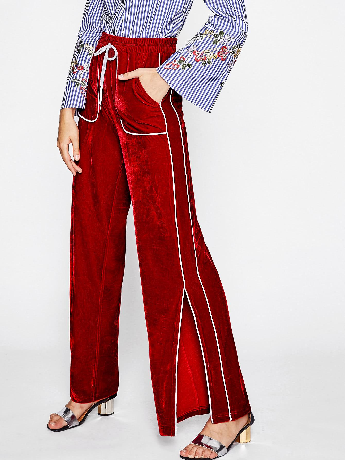 Tipping Detail Slit Side Velvet Pants.jpg