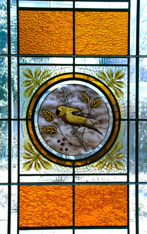 Traditional painted stained glass medallion
