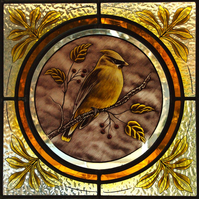 Waxwing stained glass medallion