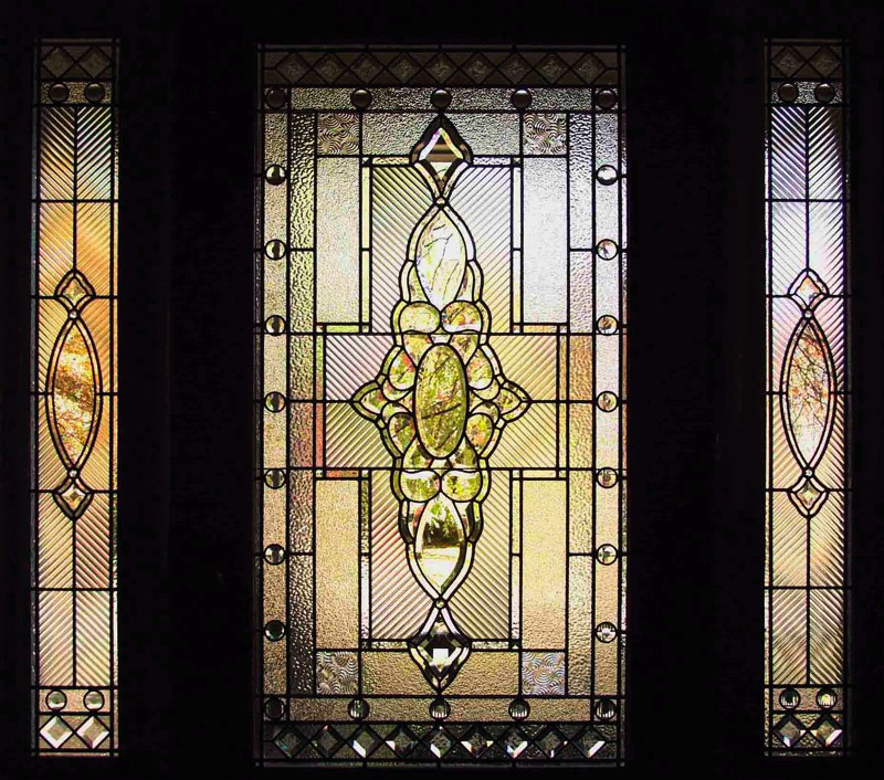 Traditional beveled leaded glass entryway