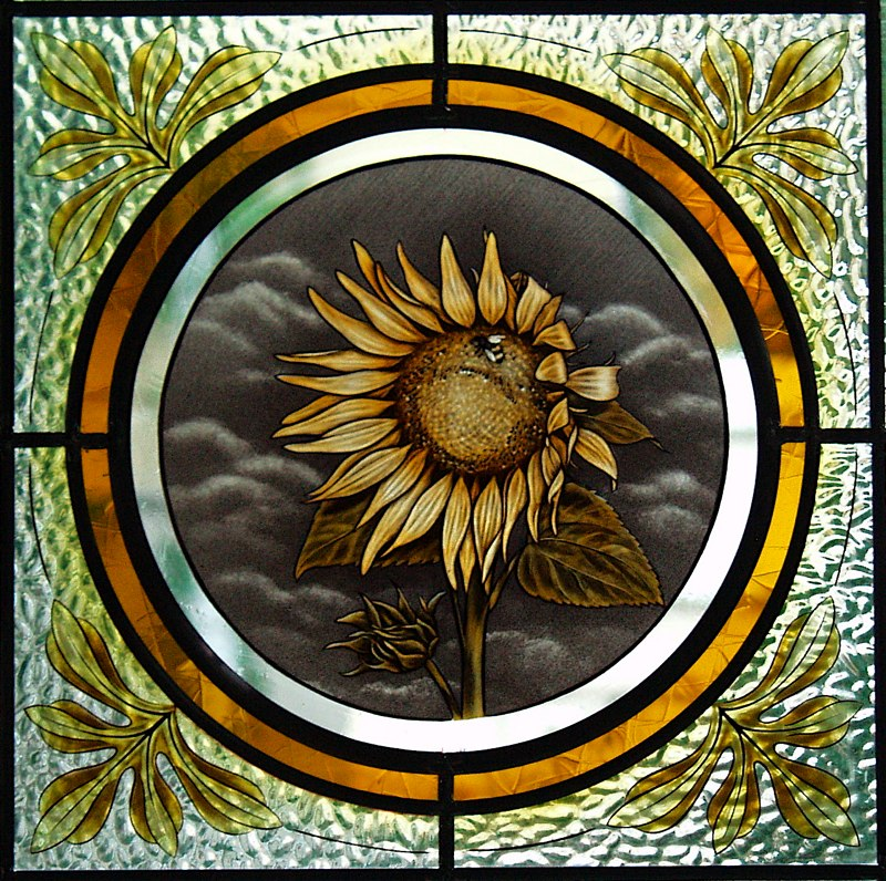 Sunflower and bumble bee window
