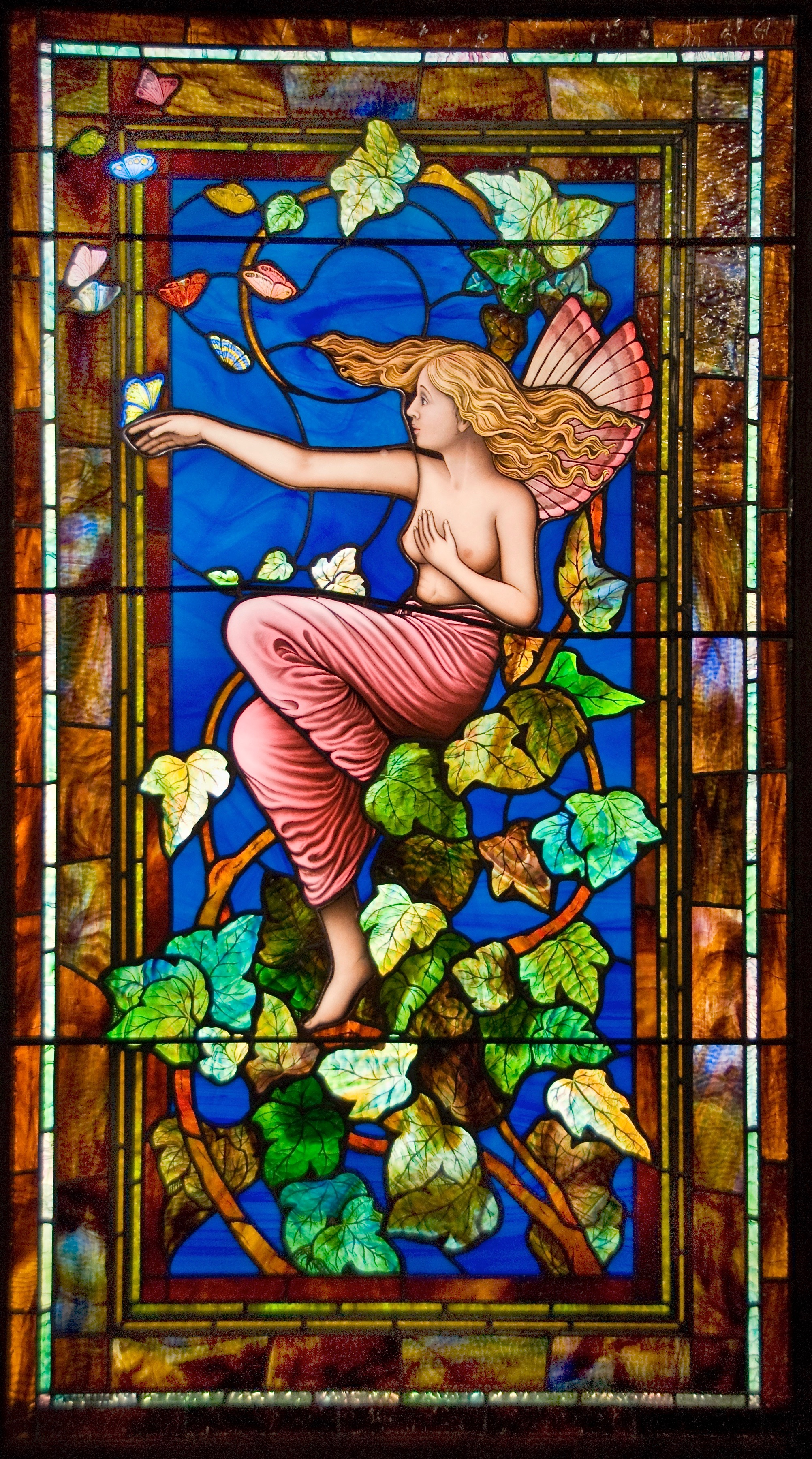 Wood Nymph Stained glass window