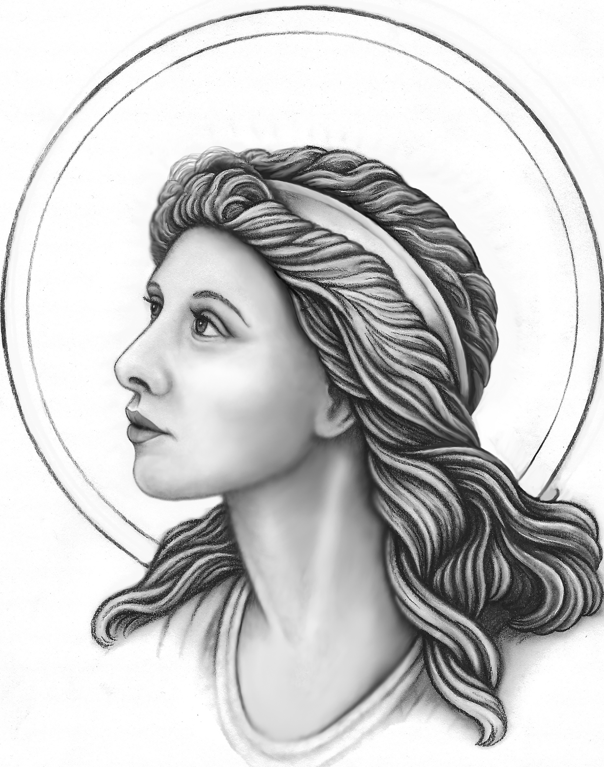 Original charcoal drawing of Mary