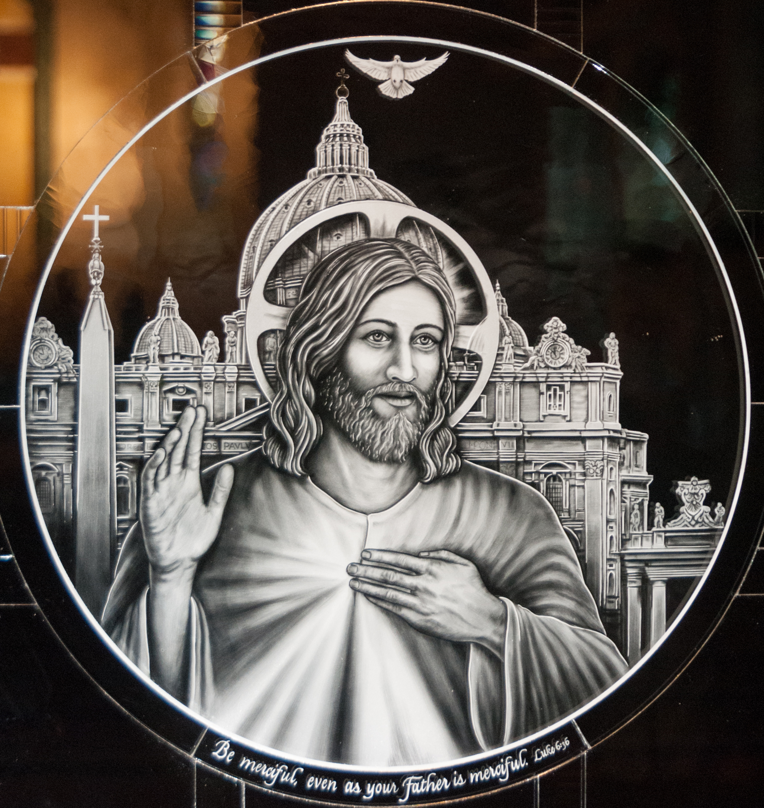 "Finished Divine Mercy medallion ""Be merciful even as your Father is merciful"", executed in Milano-Ti™, titanium etched glass."