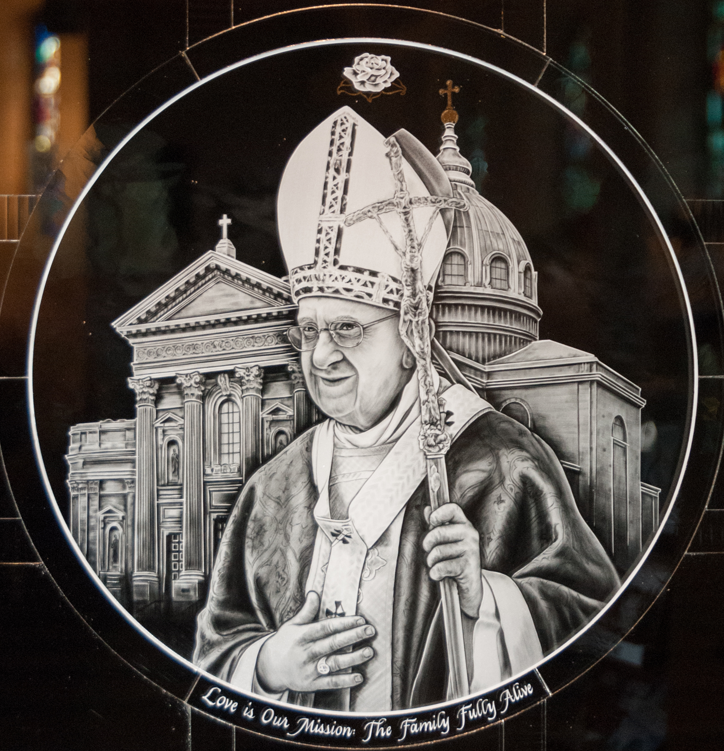 Milano-Ti™ titanium etched glass medallion of Pope Francis Cathedral Basilica of Saints Peter and Paul.
