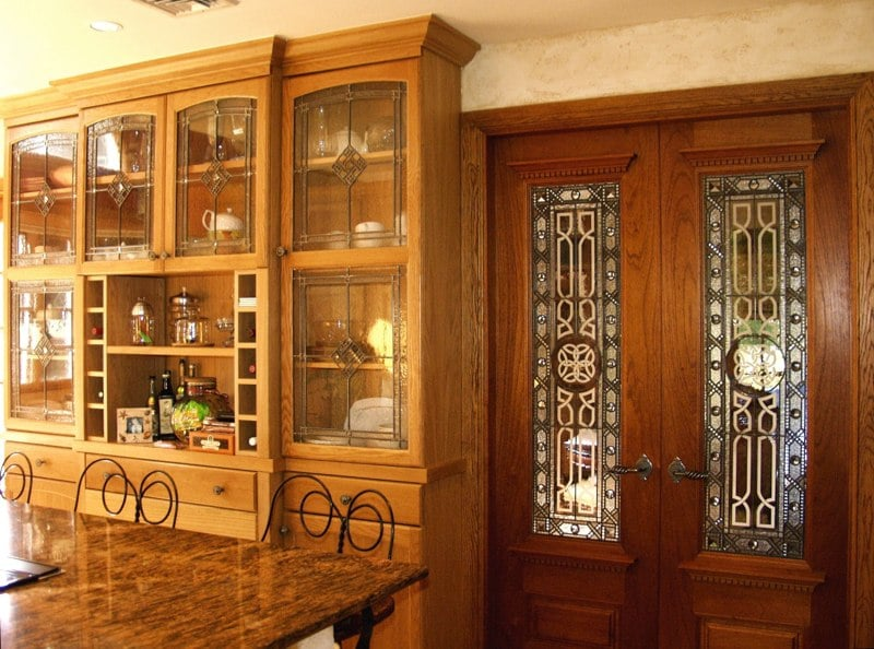 Leaded glass kitchen cabinet inserts