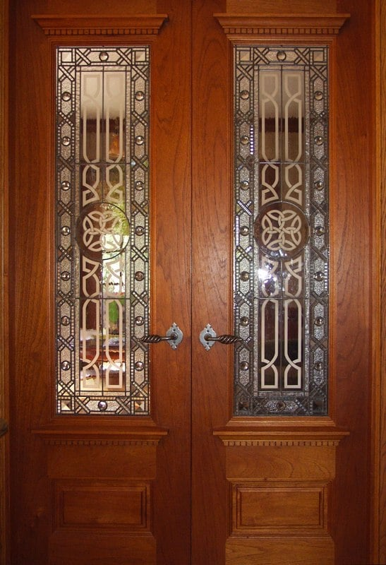 Traditional leaded glass doors