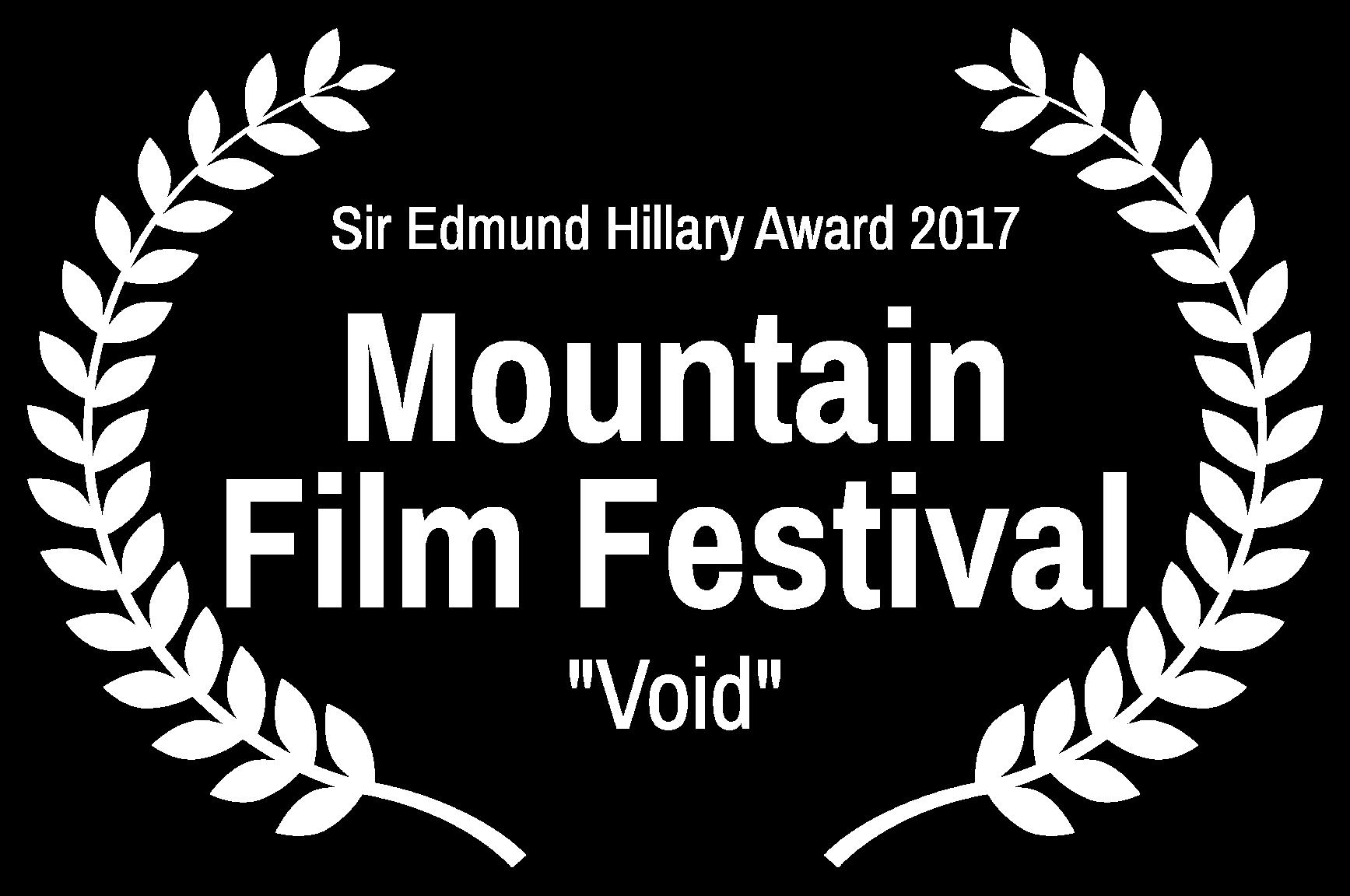 Sir Edmund Hillary Award 2017 - Mountain Film Festival - Void.png