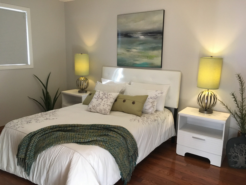 The bedroom was also painted a fresh colour, as the blue was too intense for most homebuyers who are looking for move in ready homes. The Staging helps to show the size of the room and how it could be made to look warm and inviting.