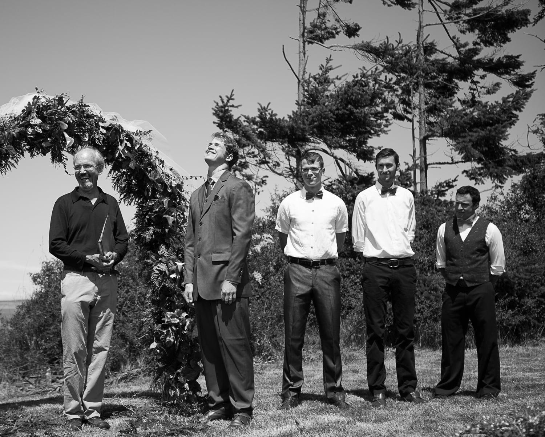 grooms reaction Port Townsend wedding