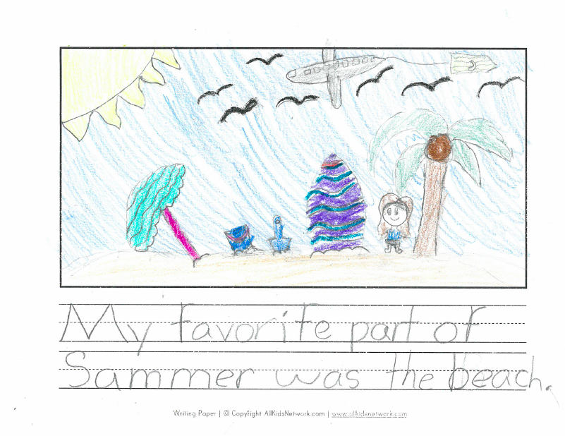 """My favorite part of summer was the beach."""