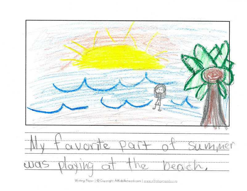 """My favorite part of summer was playing at the beach."""