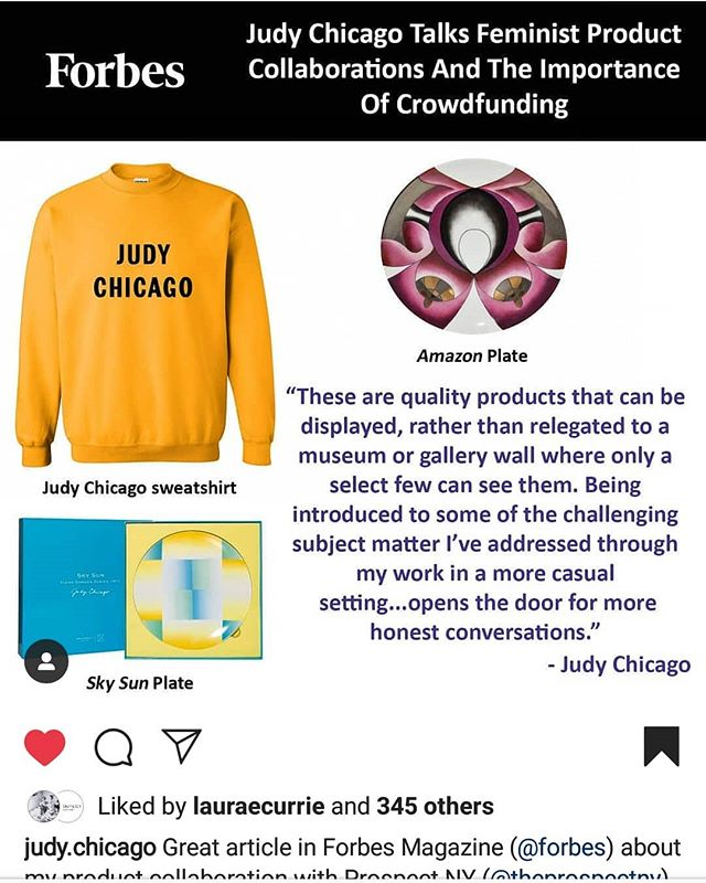 """😭the legendary artist @judy.chicago said my article about her in @forbes is """"great."""" I had the honor of sitting down with her for an interview and it was truly special. Link up top. She's a hero. #art #artist #women #feminist #hero"""