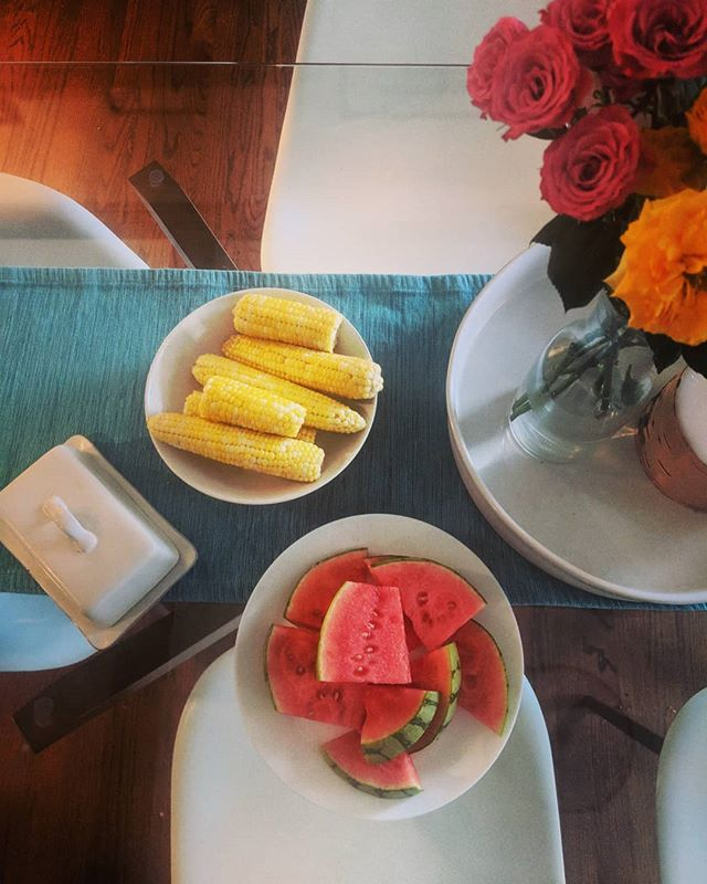 hey the little summer foods accidentally match the flowers. 🤗🍉🌽💐 #watermelon #excitement