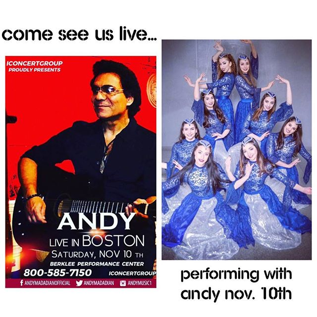 Come see us this Saturday, Nov. 10th where we will be performing live with ANDY at the Berklee Performance Center!