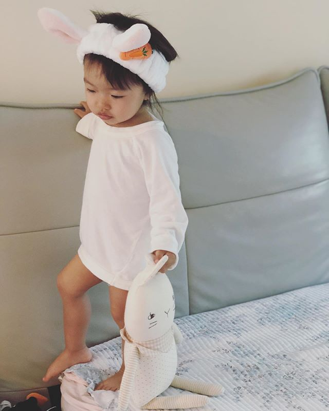rise & shine! ☀️ Sienna's been loving our Organic Laia Bunny Sensory Doll 🥕 super soft & snuggly 🐰 (and shh, limited stock! 🤫) #accentyourlittleone #organic #motherhood #handmade #newborn #baby #momentslikethese 💕