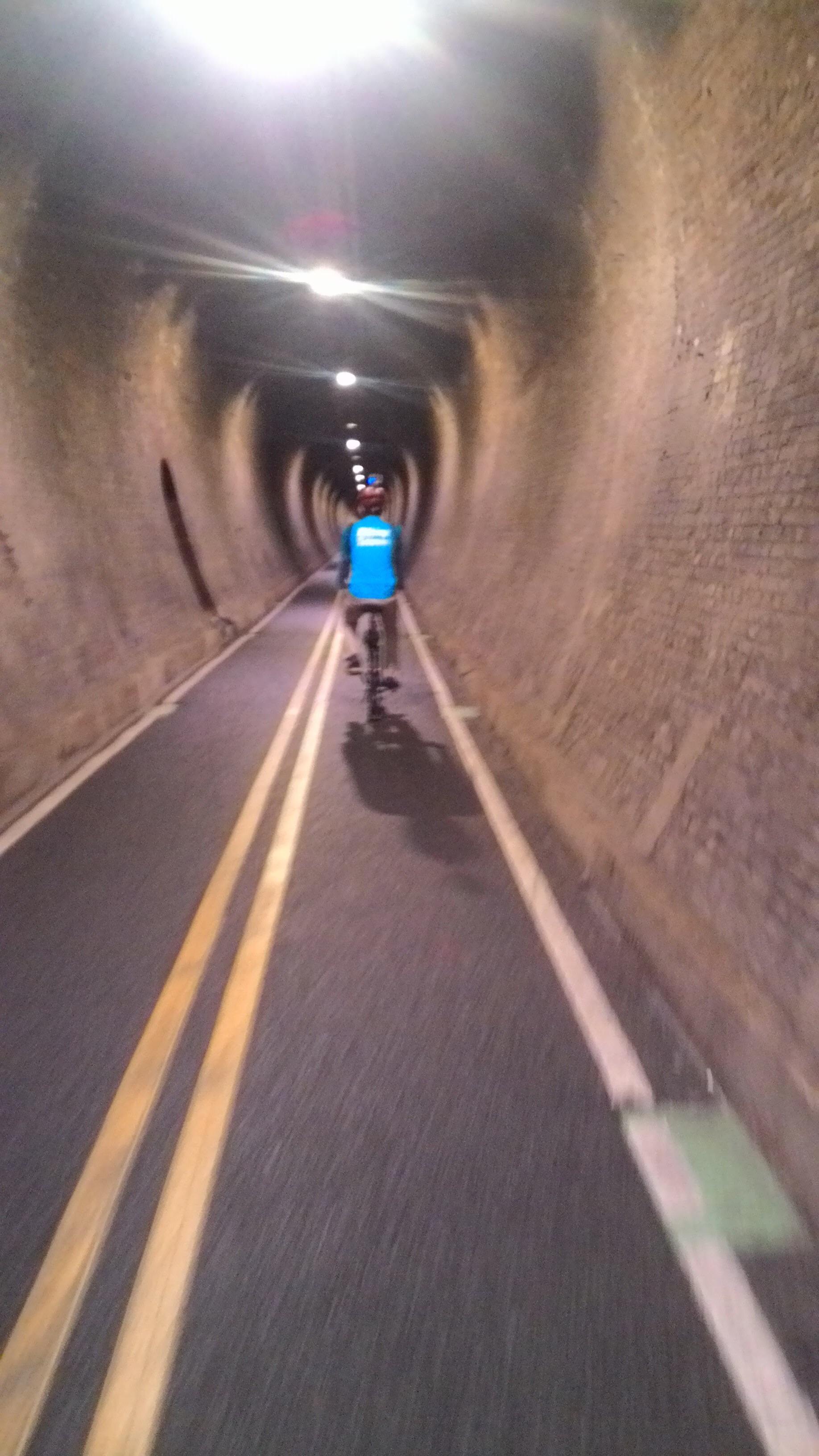 Amazing felling of biking through the old tunnel, am I a train? Chu Chu.......