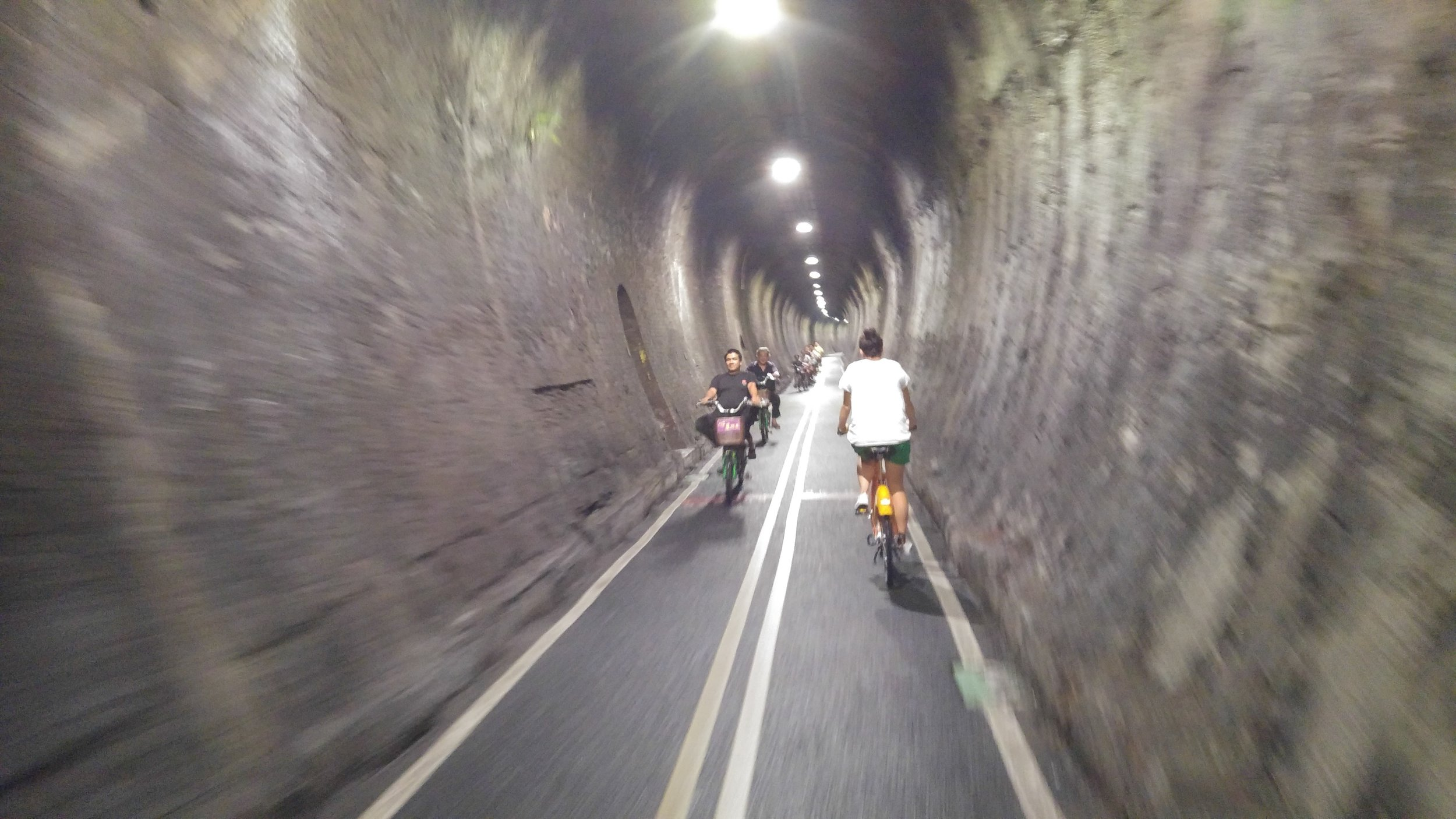 a tunnel more than 2km, exclusively to cyclists only!! (great for hiding from summer heat)