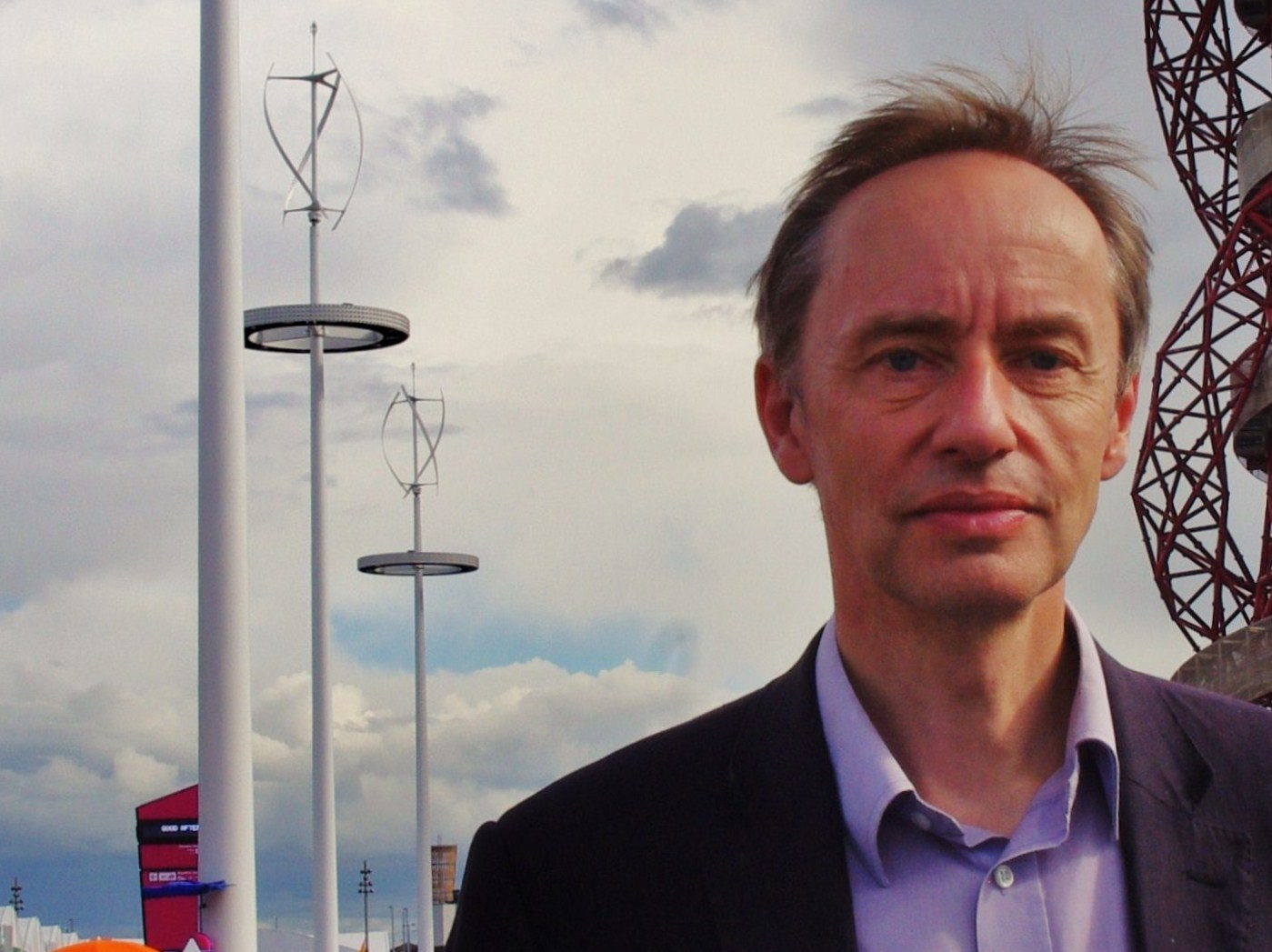 Mark Sutton Vane visits the Olympic Park during the London 2012 Games. The Memory Masts, visible in the background, will remain as a permanent reminder of the events.