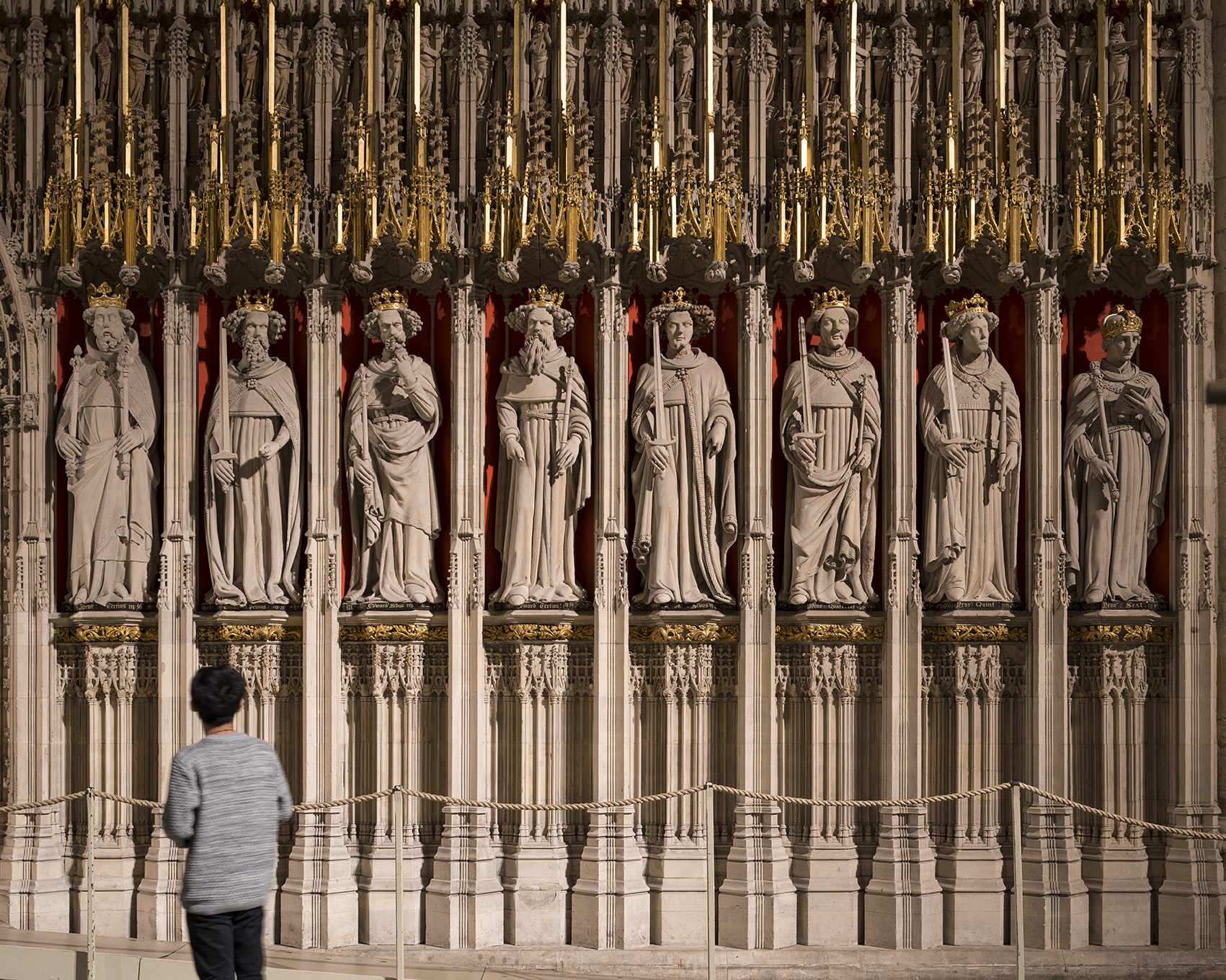 The Kings Screen at York Minster, lit by Sutton Vane Associates.