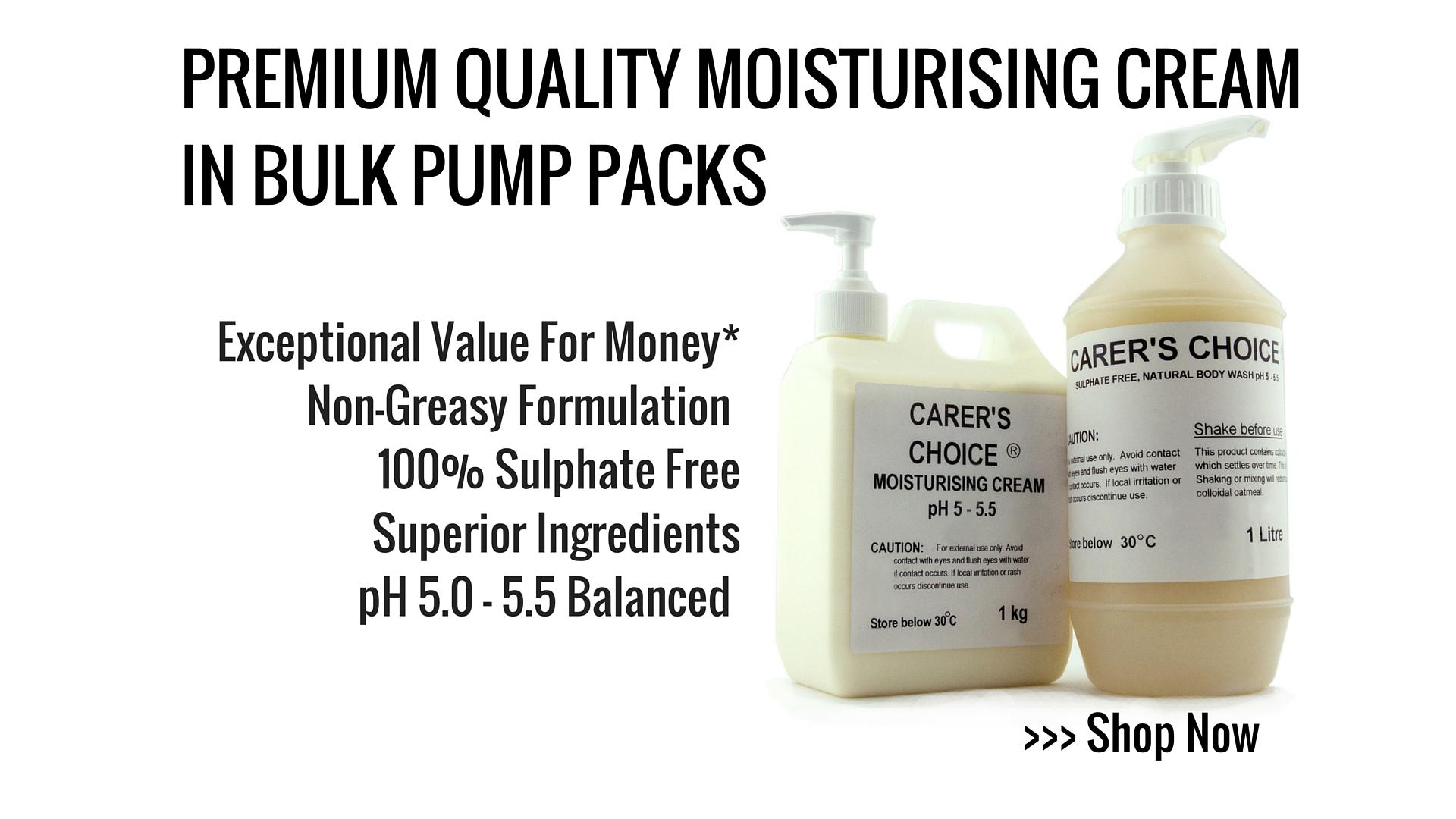 ph 5.0 - 5.5 premium sulphate free body Moisturiser cream in pump pack dispenser