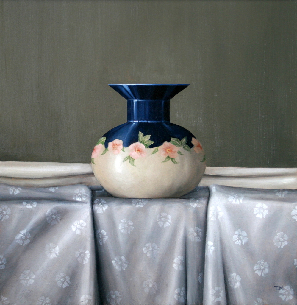 Blue and Cream Vase with Grey Silk