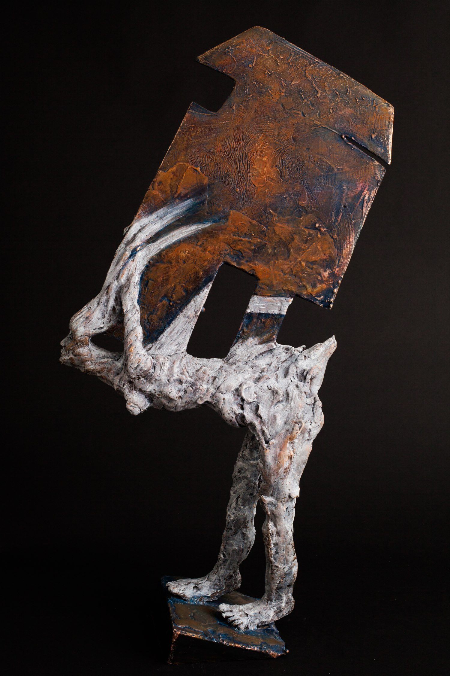 The Burden of Laughter. Cast bronze with pigment by Cathy Carmen. jpg