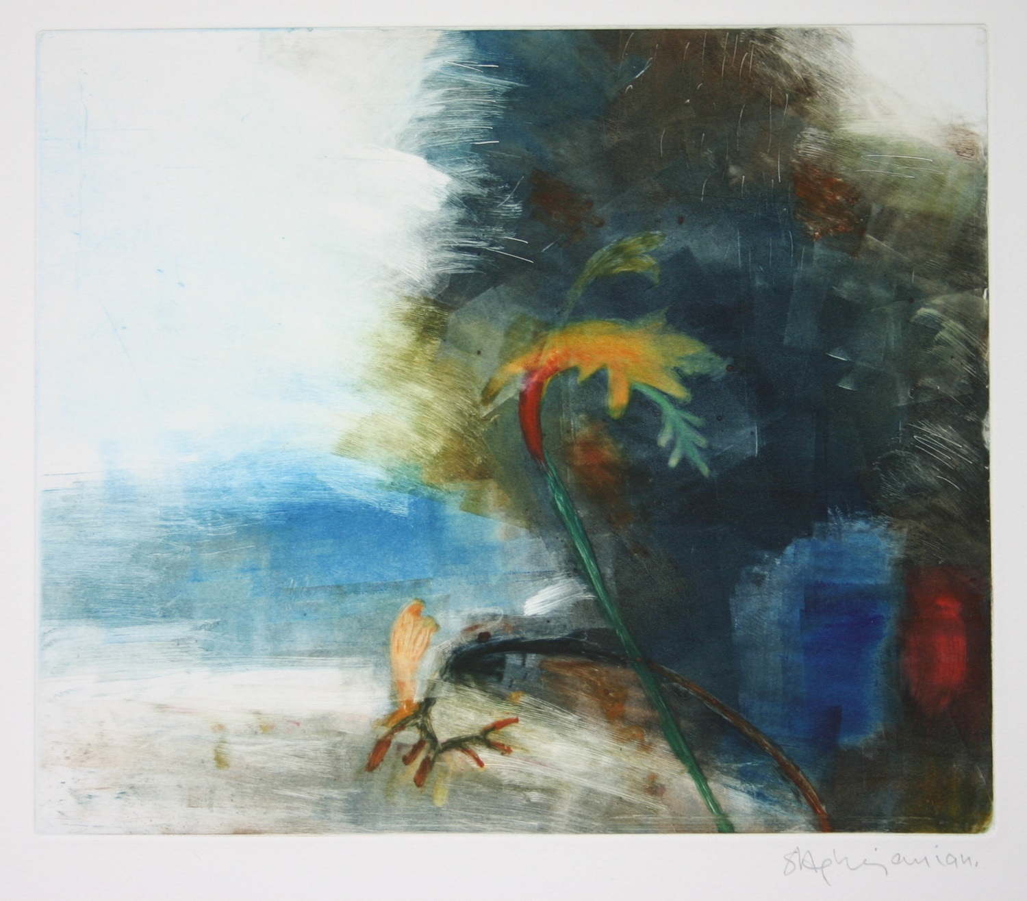 Out of Shadow 2. Oil on paper40 x 49 cms by Sophie Aghajanian