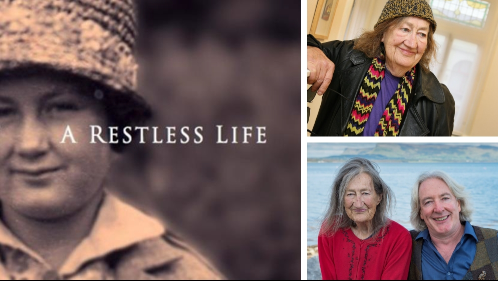 """Images from Leland Bardwell's auto biography """"A Restless Life, at an exhibition opening in the Yeats building and with her friend and neighbour, writer Brian Leyden."""