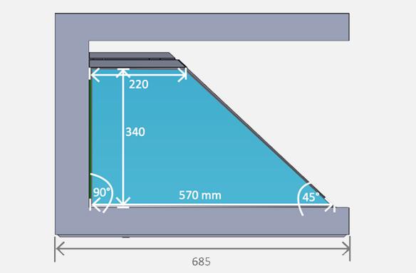 Dreamoc XL3 – approximate hologram size (on side)