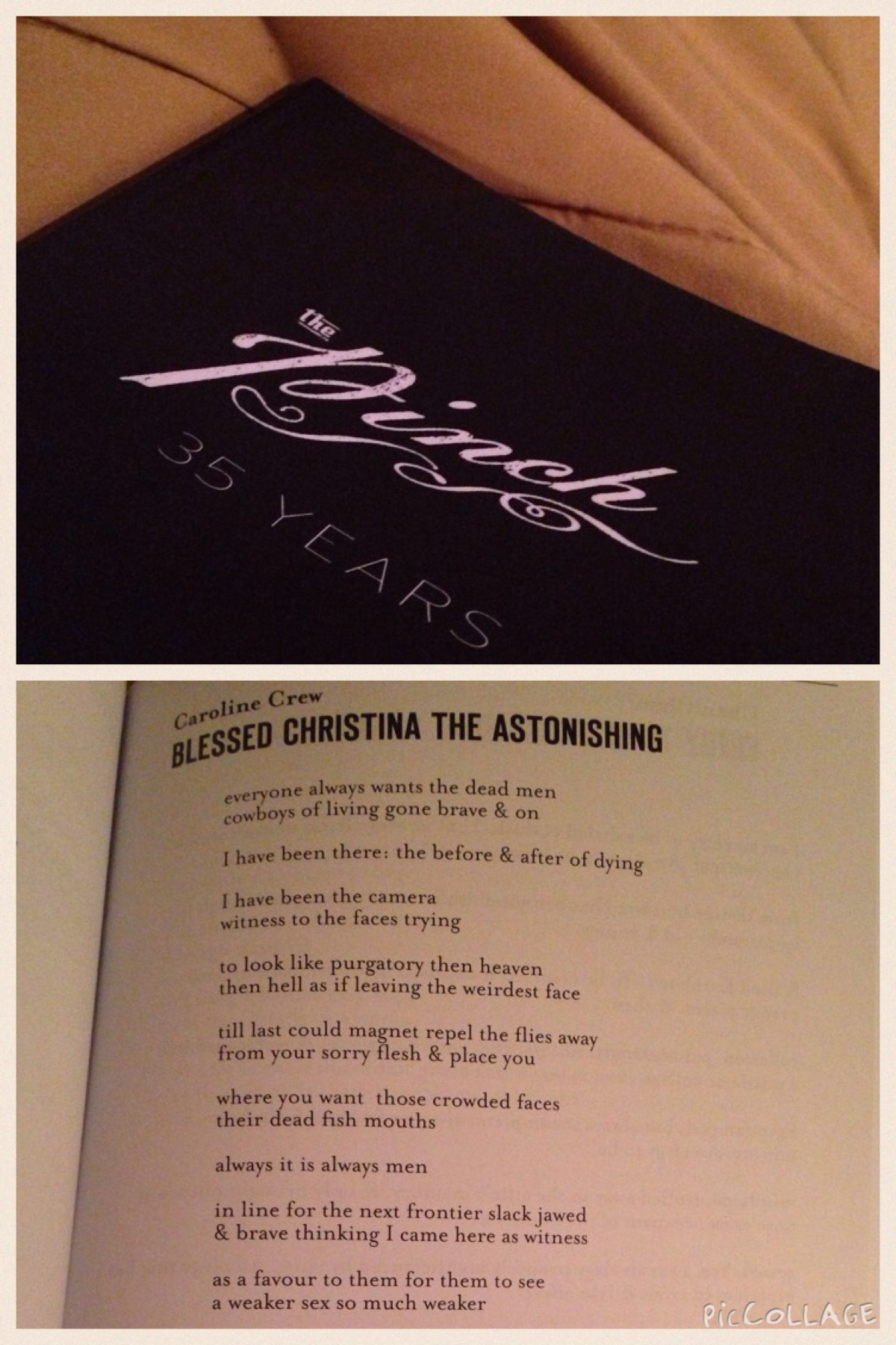 Excited my copy of The Pinch arrived with a lady saint poem in it!