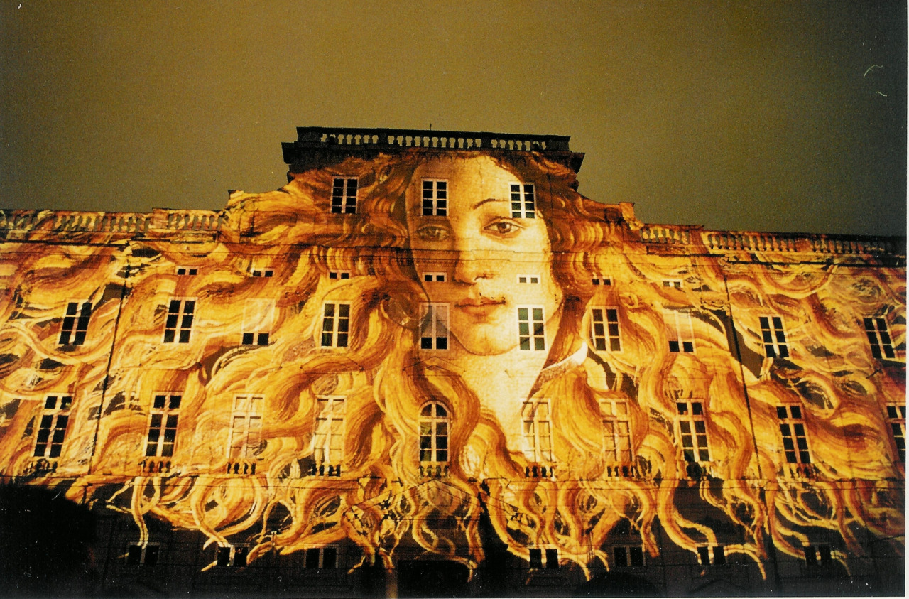 tinagrey :      Botticelli's Venus as part of a slide show on buildings during the Festival of Lights in Lyon, France.