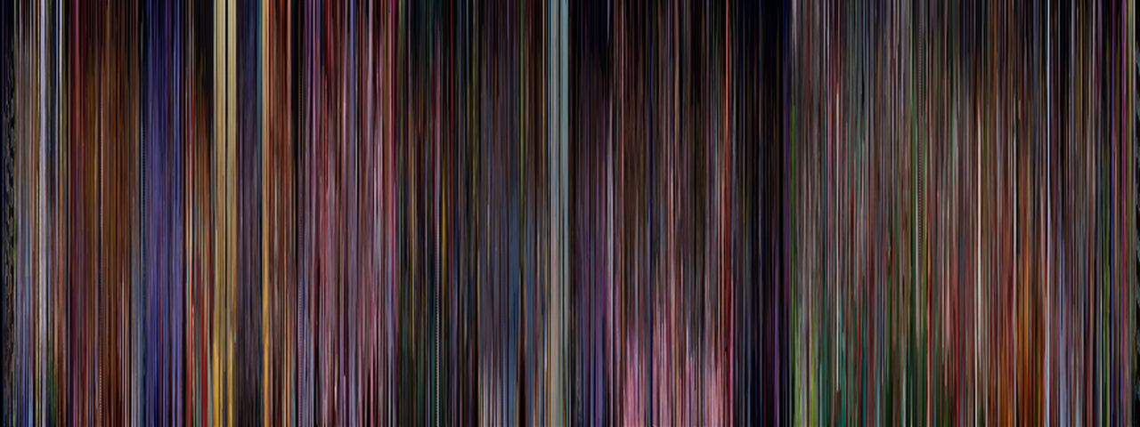 moviebarcode :      Alice in Wonderland (1951)    ⇒prints      If all of Alice in Wonderland is compressed it is a purple movie. Huh.