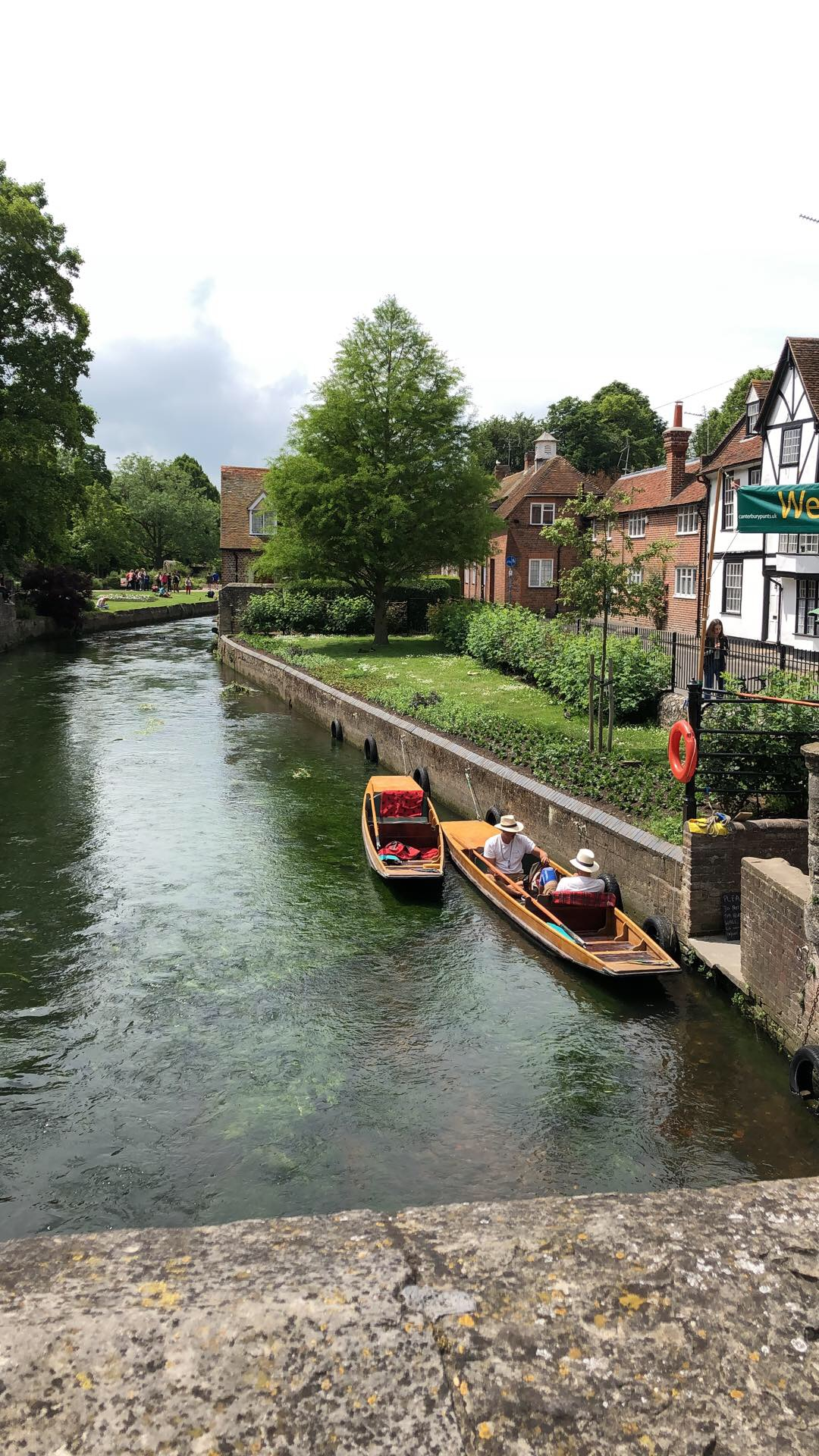 View from a bridge over the river in Canterbury