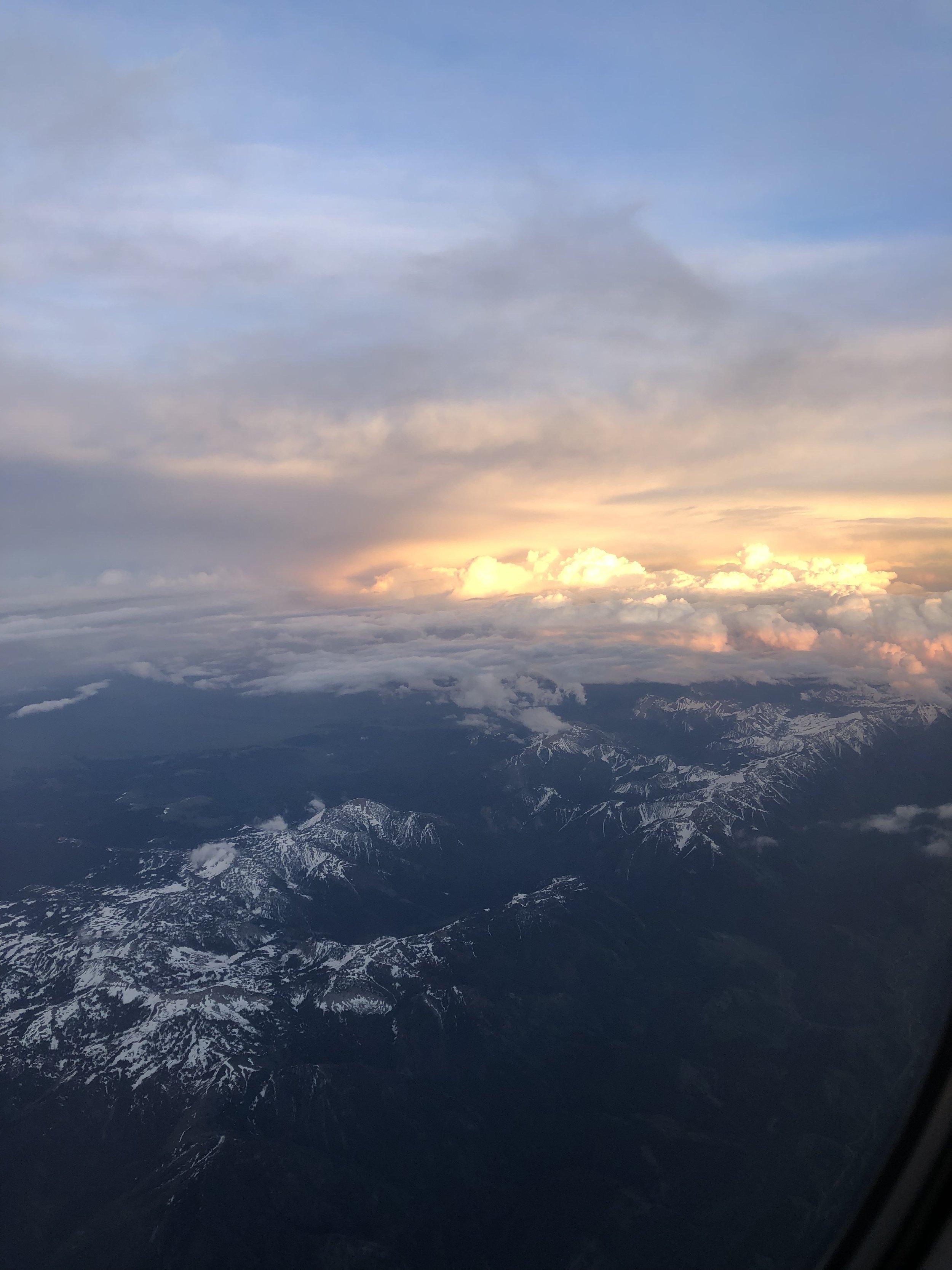 Flying into Jackson Hole, WY at sunset