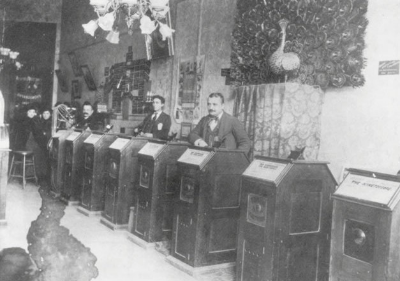 Publicity or news photograph of San Francisco kinetoscope   parlor, ca. 1894–95