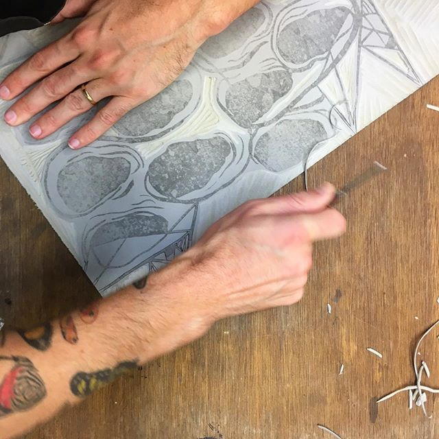We started experimenting with linocuts today in our printmaking class and really, really enjoyed it.