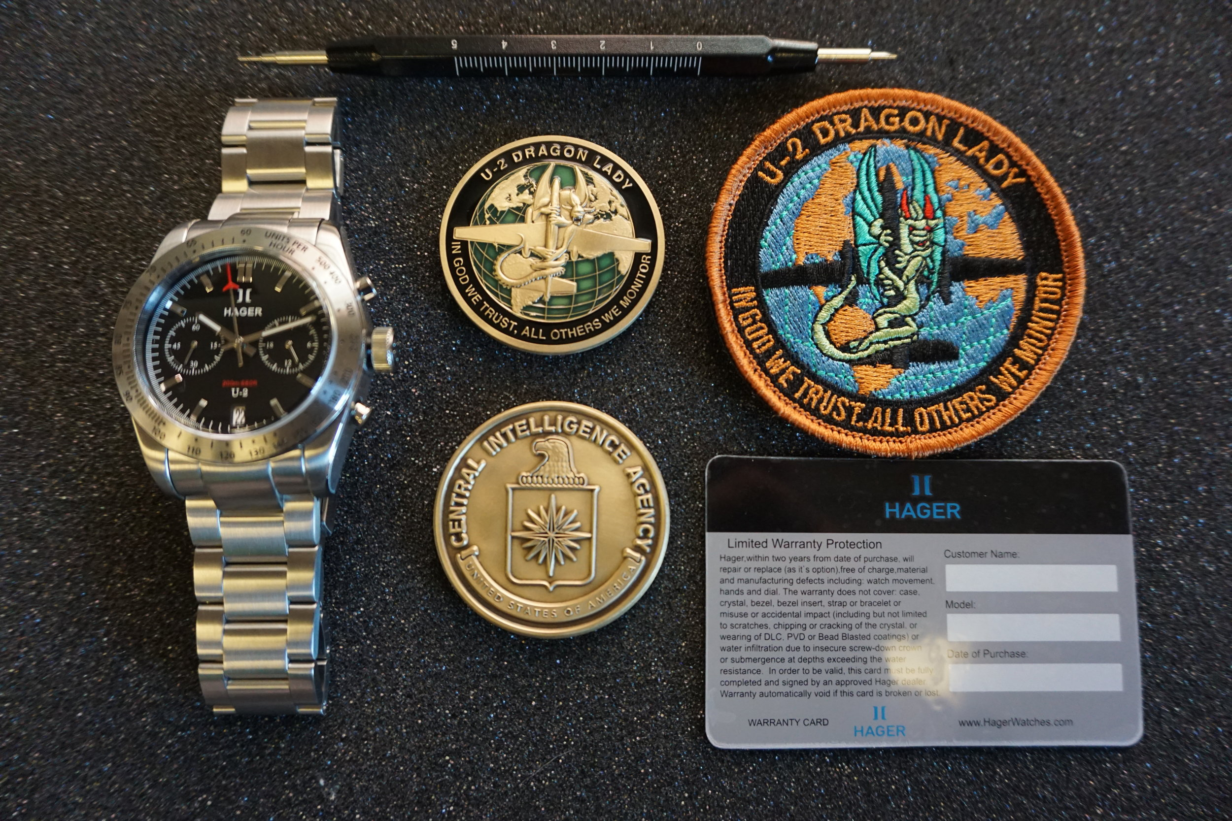 U-2 Chronograph boxed set includes the U-2 Chronograph watch, U-2 Dragon Lady patch, (1) U-2 Coin, bracelet strap tool and warranty card