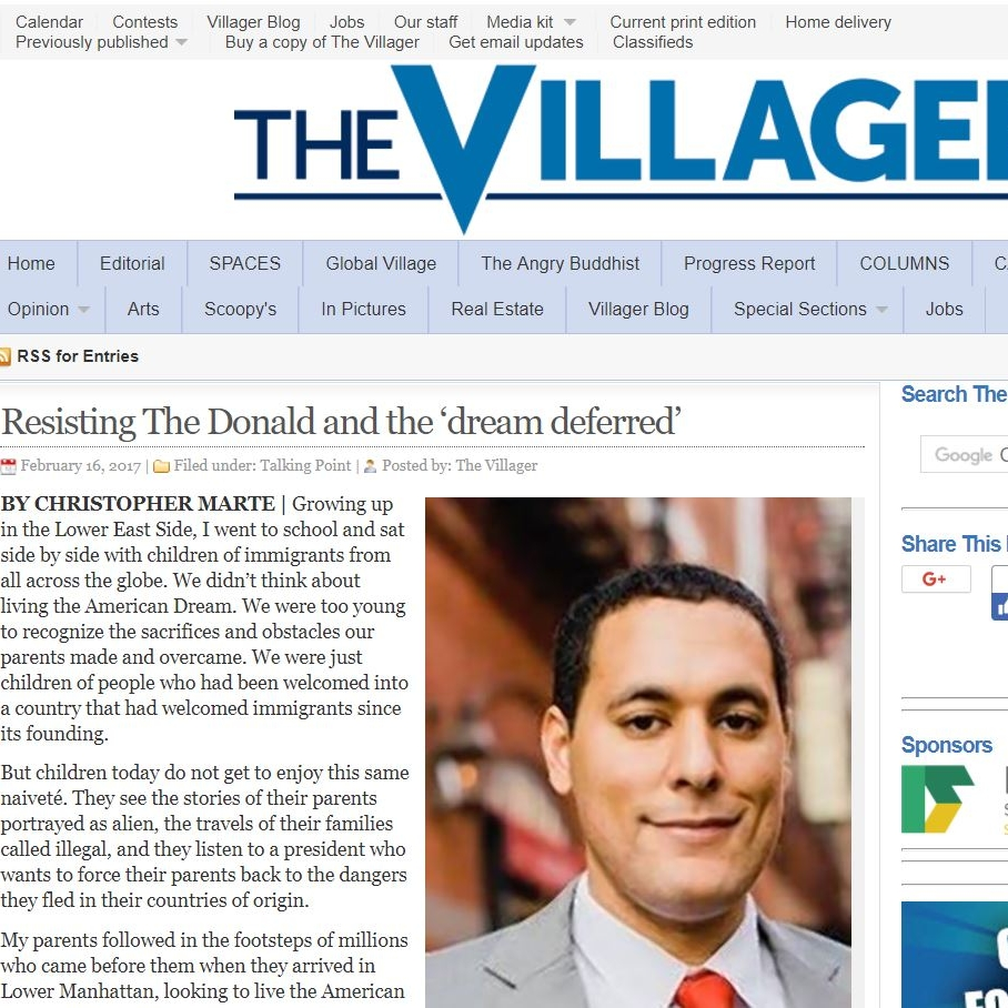 """THE VILLAGER     """"Resisting The Donald and the 'dream deferred'"""""""