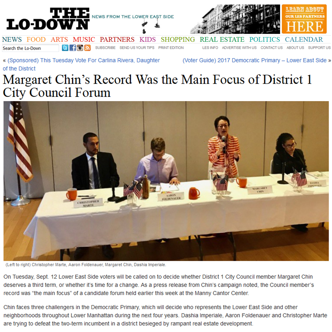 """THE LO-DOWN     """"    Margaret Chin's Record Was the Main Focus of District 1 City Council Forum  """""""