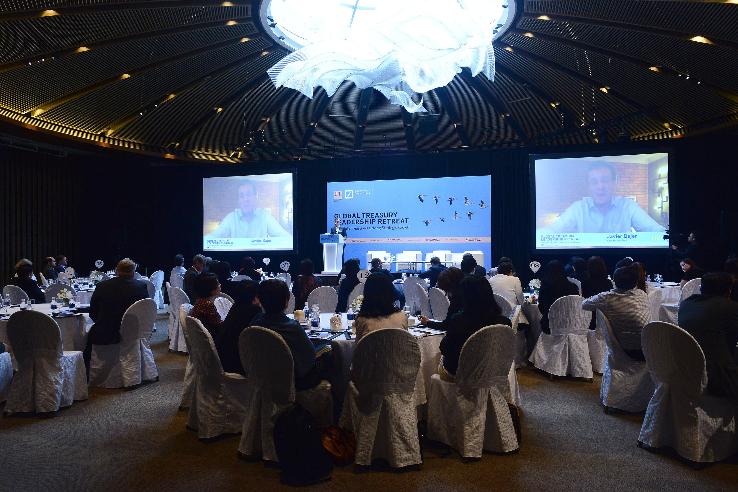 Video call to FT Global Treasury Retreat in Singapore, to discuss how to cultivate leadership to create change (December '16)