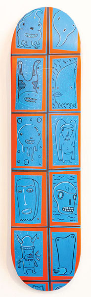 """14. Dan Smith,""""Spontaneous Rectilinear Composition in Blue and Orange"""" $275"""