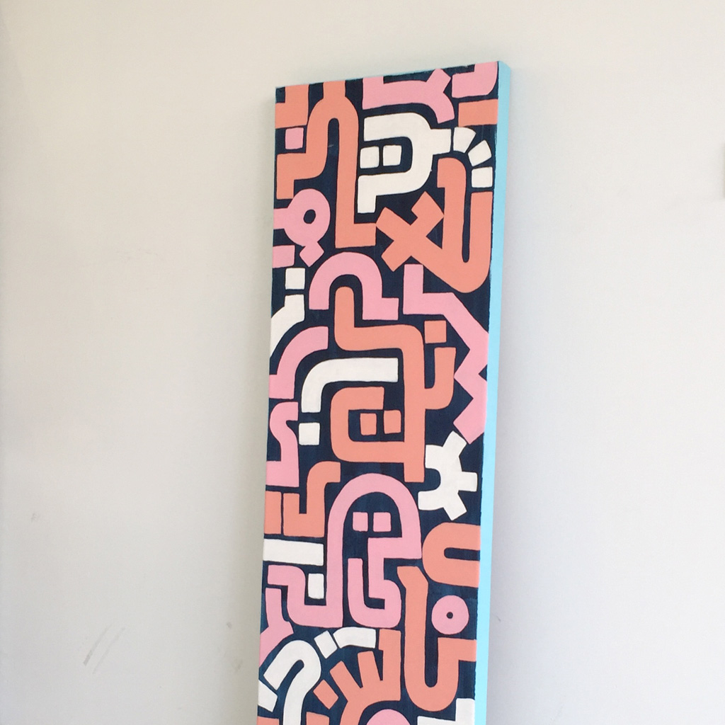 Photo 2 of artwork Bold Pink is an abstract painting with pink, white and orange lines on a dark blue canvas and light blue sides by Dutch contemporary urban artist Michiel Nagtegaal
