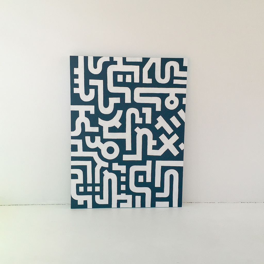 Image 1 of 7 - Artwork 'Working Day' is an abstract painting with white lines on a dark blue canvas by Dutch contemporary urban artist Michiel Nagtegaal
