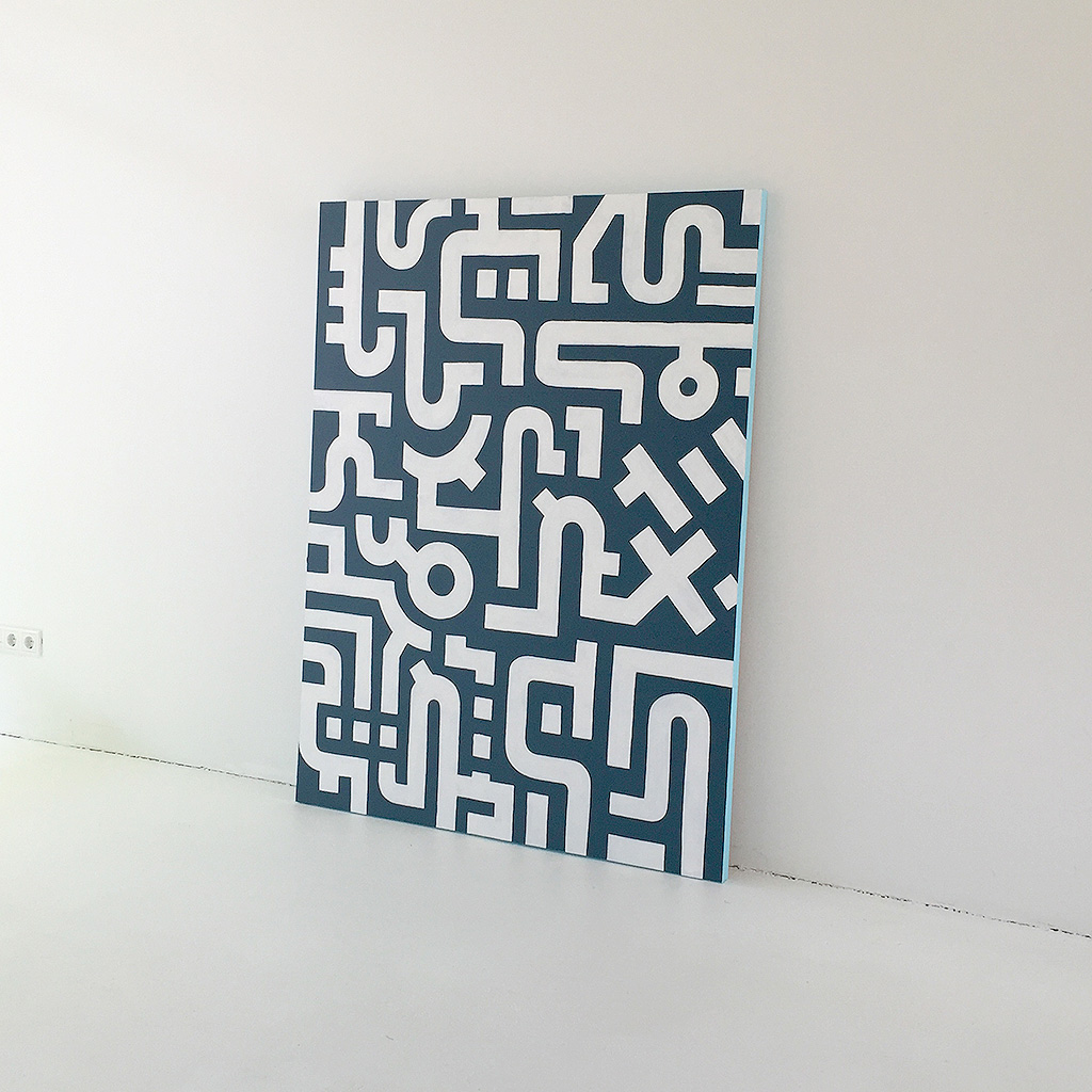 Image 2 of 7 - Artwork 'Working Day' is an abstract painting with white lines on a dark blue canvas by Dutch contemporary urban artist Michiel Nagtegaal