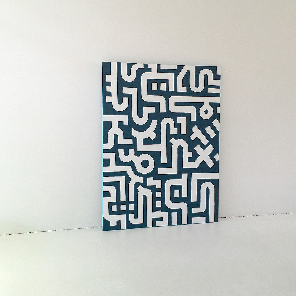 Image 3 of 7 - Artwork 'Working Day' is an abstract painting with white lines on a dark blue canvas by Dutch contemporary urban artist Michiel Nagtegaal